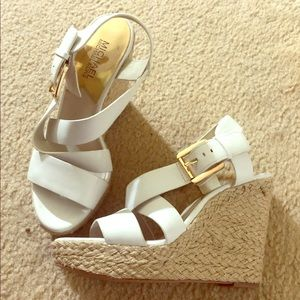 Michael Kors white wedges size 7